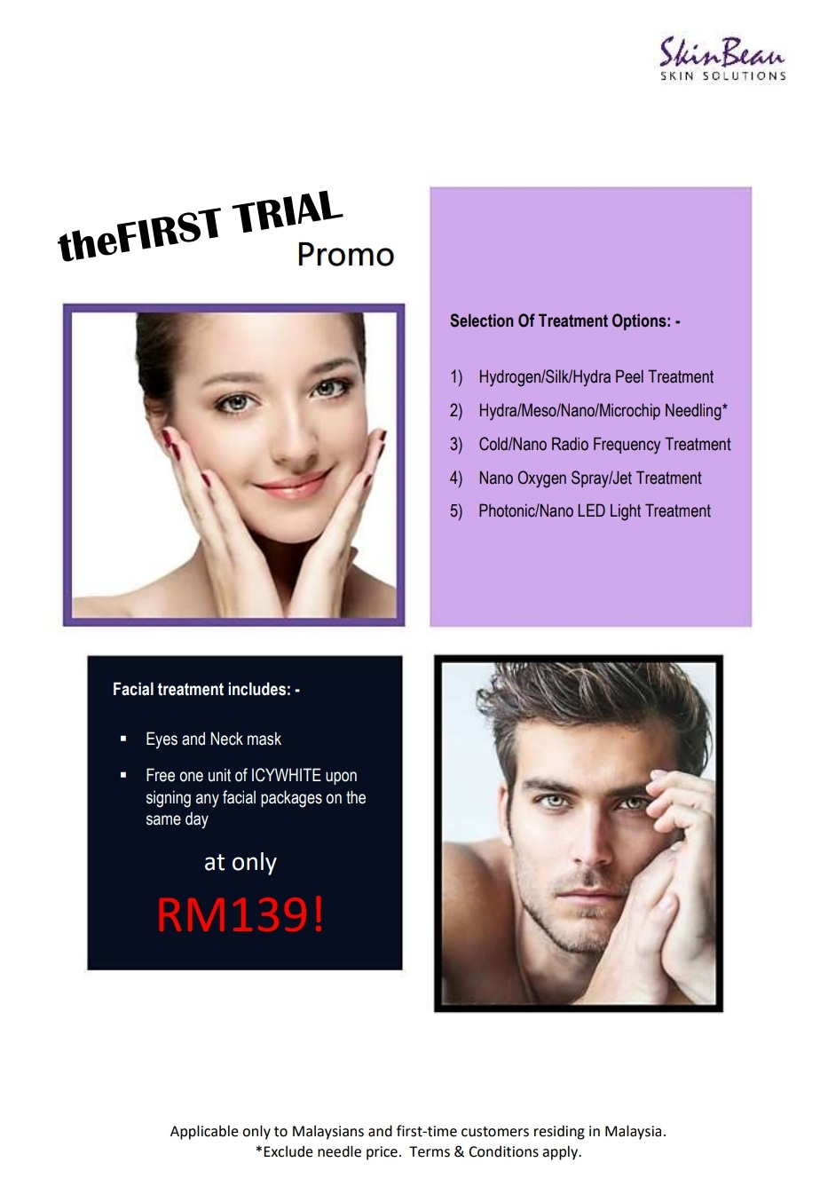 skinbeau facial treatment promotion